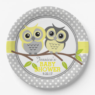 Assiettes En Papier Baby shower adorable de hiboux