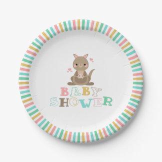 Assiettes En Papier Baby shower avec du charme de kangourou