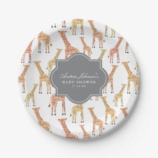 Assiettes En Papier Baby shower de girafe