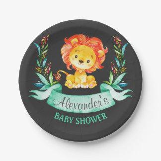 Assiettes En Papier Baby shower de lion d'aquarelle de tableau