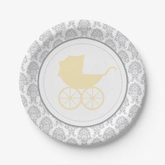 Assiettes En Papier Baby shower élégant antique de la damassé | de