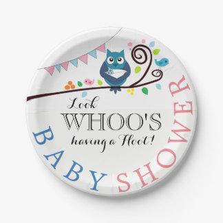Assiettes En Papier Baby shower lunatique de hibou