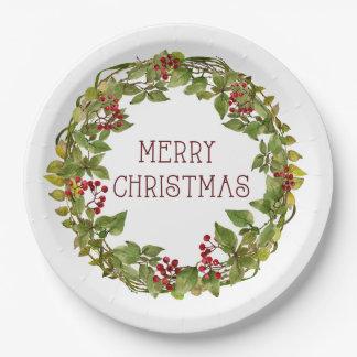 Assiettes En Papier Baie de guirlande de plaques à papier de Noël