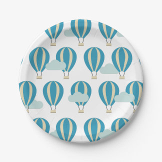 Assiettes En Papier Ballons à air chauds bleus turquoises
