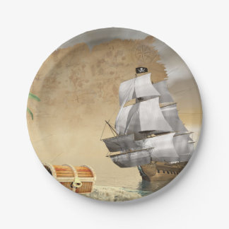 Assiettes En Papier Bateau de pirate trouvant le trésor - 3D rendent