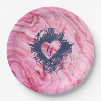 Assiettes En Papier beau élégant de motif de marbre rose de texture