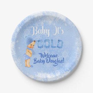Assiettes En Papier Bébé c'est douche froide de garçon bleu d'hiver de