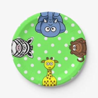 Assiettes En Papier Bébé de point de polka de vert d'animal sauvage de