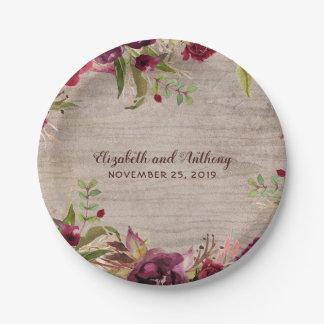Assiettes En Papier Bois et mariage rustique de fleurs de Bourgogne