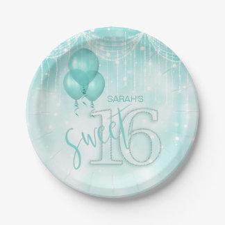 Assiettes En Papier Bonbon 16 ID473 turquoise à lumières et à ballons