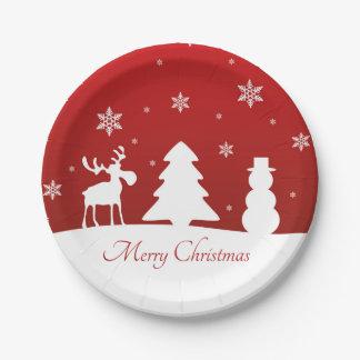 Assiettes En Papier Bonhomme de neige de renne d'arbre de Noël -
