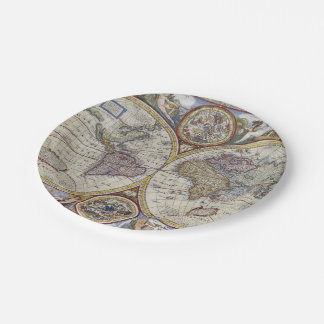 Assiettes En Papier Carte antique #3 du monde