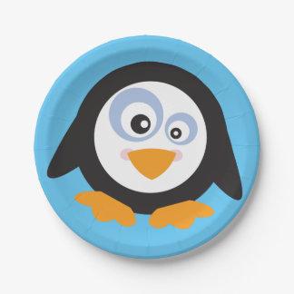 Assiettes En Papier Cercle de Noël des plaques à papier de pingouins
