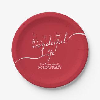 Assiettes En Papier C'est une vie merveilleuse, fête de vacances