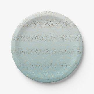 Assiettes En Papier Charme de confettis d'Ombre d'or d'Aqua