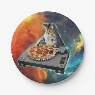 Assiettes En Papier Chat DJ avec la table saine de jockey de disque