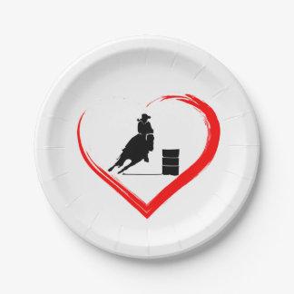 Assiettes En Papier Cheval d'emballage de baril de silhouette et coeur