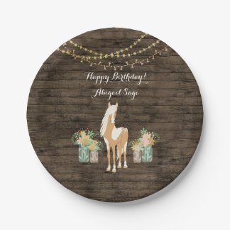 Assiettes En Papier Cheval personnalisé, anniversaire en bois rustique