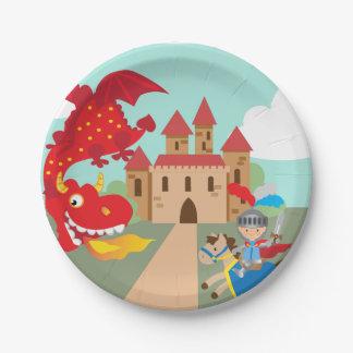 Assiettes En Papier Chevalier d'équitation et dragon de vol rouge