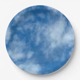 Assiettes En Papier Ciel bleu avec la photo de nuages