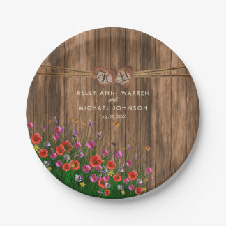 Assiettes En Papier Coeur de monogramme avec des fleurs sauvages de