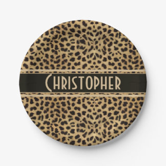 Assiettes En Papier Copie de peau de tache de léopard personnalisée
