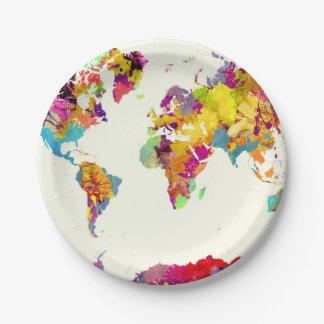 Assiettes En Papier couleurs de carte du monde