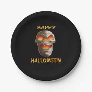 Assiettes En Papier Crâne brillant de yeux de Halloween de plat