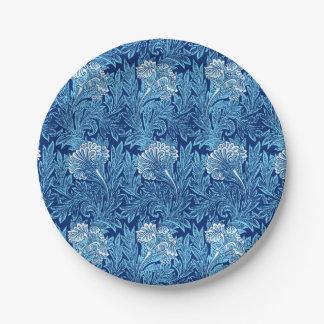 Assiettes En Papier Damassé, cobalt et bleu-clair Jacobean de fleur