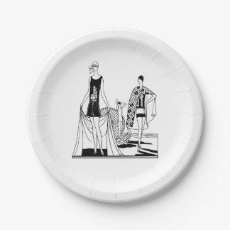 Assiettes En Papier Dames à la mode d'art déco vintage à la plage