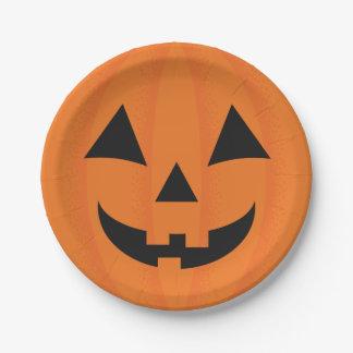 Assiettes En Papier Décor heureux orange de Halloween de visage de