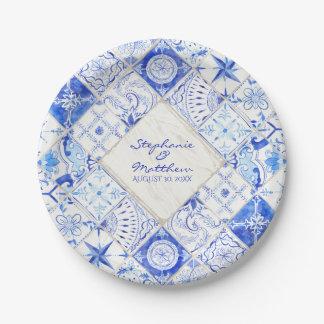 Assiettes En Papier Diamant blanc bleu de tuile de pays rustique