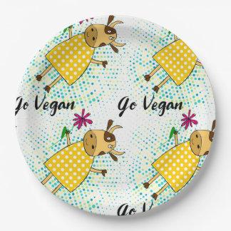 """Assiettes En Papier """"Disparaissent"""" le signe végétalien avec la vache"""