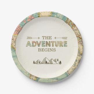 Assiettes En Papier Douche de carte du monde de voyage de plaques à