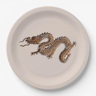 Assiettes En Papier Dragon chinois de pain d'épice de zodiaque