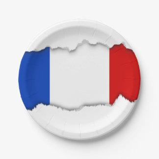 Assiettes En Papier Drapeau de la France