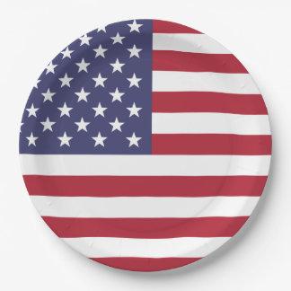 Assiettes En Papier Drapeau des Etats-Unis d'Amérique