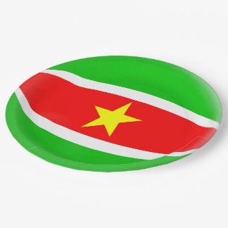 Assiettes En Papier Drapeau du Surinam