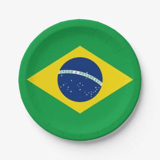 Assiettes En Papier Drapeau : Le Brésil