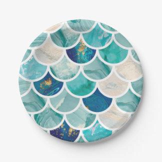 Assiettes En Papier Échelles de poissons pétillantes de sirène de