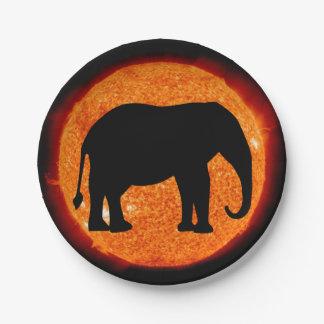 Assiettes En Papier Éclipse solaire d'éléphant