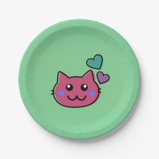 Assiettes En Papier emoji rose heureux de chat sur le backround vert
