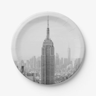 Assiettes En Papier Empire State Building noir et blanc Manhattan