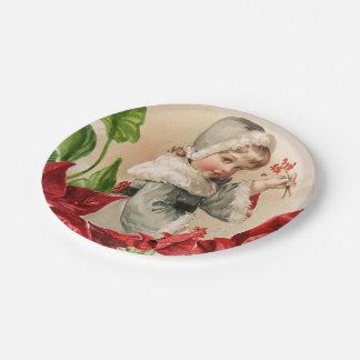 Assiettes En Papier Enfant vintage avec des baies et Pointsettias