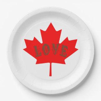 Assiettes En Papier Ensemble d'amour de jour du Canada de 8 plaques à