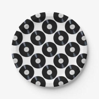Assiettes En Papier Étiquette de disque de blanc