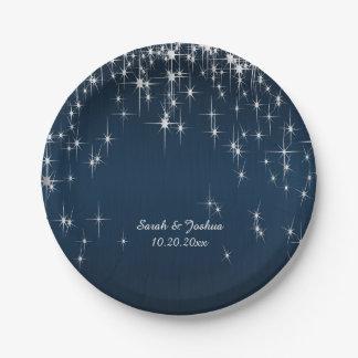 Assiettes En Papier Étoile avec du charme frappée épousant le bleu