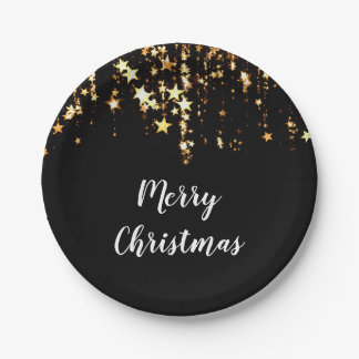 Assiettes En Papier étoiles modernes élégantes d'or de Joyeux Noël