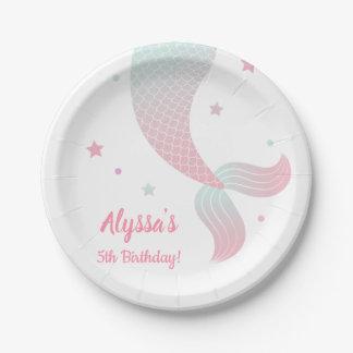 Assiettes En Papier Fête d'anniversaire bleue rose de filles de queue