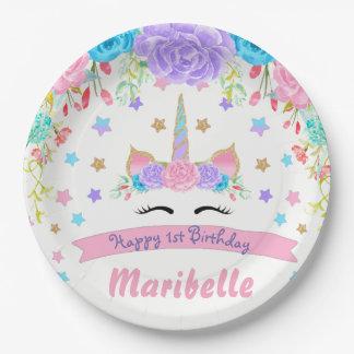 Assiettes En Papier Fête d'anniversaire florale de visage de licorne